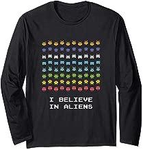 I Believe in Aliens UFO Retro Style Arcade Long Sleeve T-Shirt