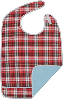 Modaliv Adult Bib - Extra Large Reusable Clothing Protector - Waterproof - Crumb Catcher - Machine Washable (XL Red)
