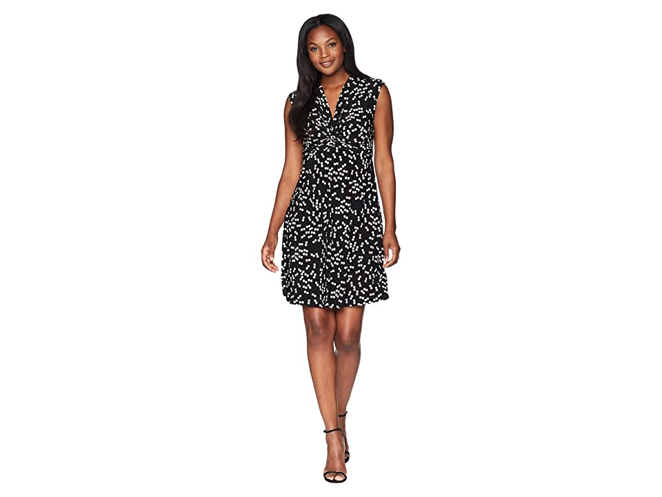 Anne Klein Short Sleeve Twist Front Dress Stellar Dot Printed Ity (Black/Parchment) Women