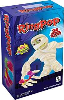 Bazooka (1) Box Ring Pop Halloween Edition Mummy Box - 24 Assorted Flavor Lollipops - Purpleberry Punch, Strawberry, Blue Raspberry - Net Wt. 8.4 oz