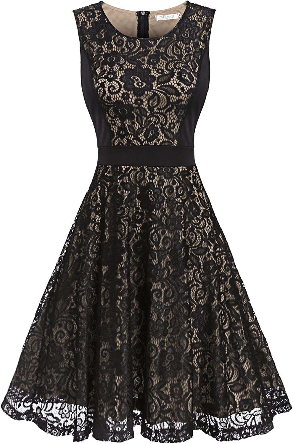 Zeagoo Women ALine Elegant Pleated Lace Sleeveless Prom Dress for Cocktail Evening Party