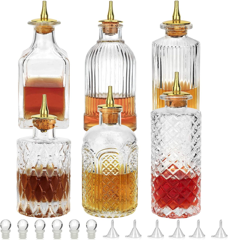 LINALL Bitters Bottle Set of 6 Zinc with Bitter Cheap SALE Start - Glass Topics on TV