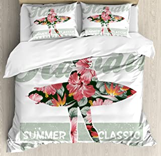 Ambesonne Hawaiian Duvet Cover Set Queen Size, Tropical Hawaii Hibiscus Surfing Girl Silhouette Surfboard Retro Themed Artprint, Decorative 3 Piece Bedding Set with 2 Pillow Shams, Coral Green