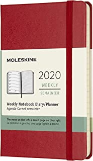 Moleskine 9 x 14 cm 12 Months Agenda Weekly 2020 Hard Cover and Elastic Closure - Scarlet Red