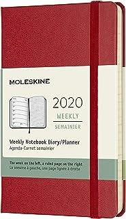 غطاء صلب وإغلاق مرن 9 × 14 سم 12 شهرًا Agenda Weekly 2020 - أحمر قرمزي.
