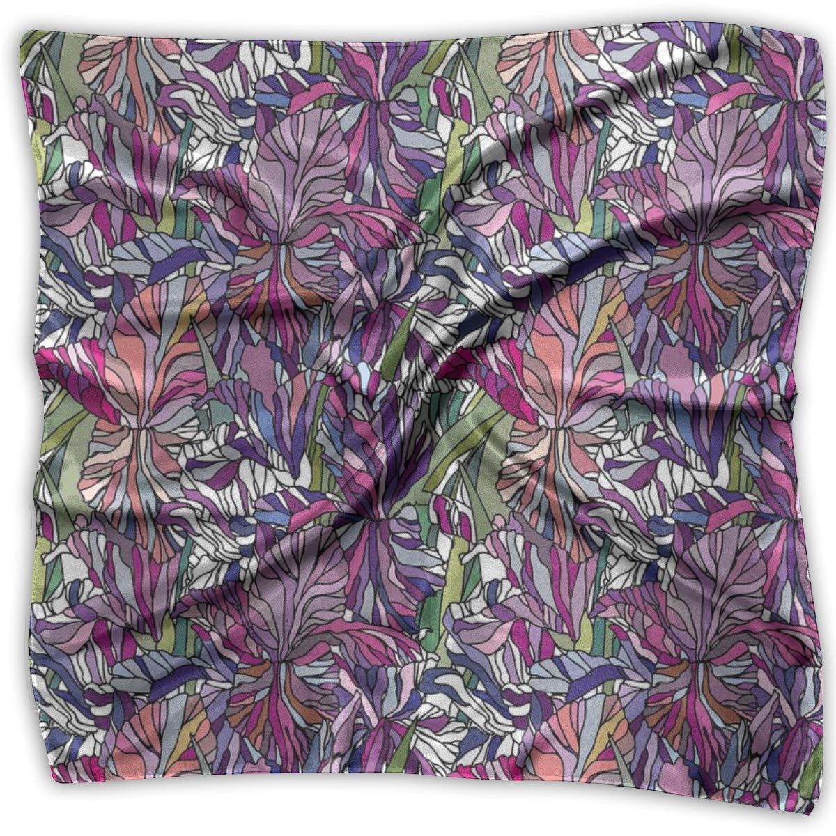 Bandana Head and Neck Tie Neckerchief,Tropical Jungle Rainforest Artistic Abstraction Narcissus Iris Vintage Style Nature,Headband