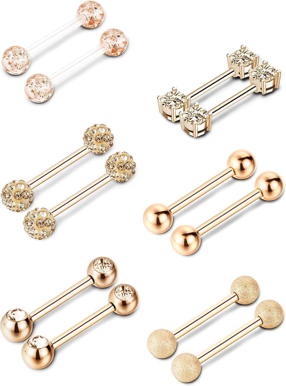Sumind 6 Pairs Nipple Tongue Ring Stainless Steel Barbell Rings Cubic Zirconia Nipplerings Body Piercing Jewelry, 14 Gauge