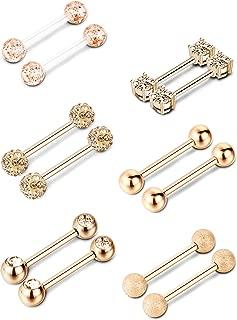 6 Pairs Nipple Tongue Ring Stainless Steel Barbell Rings Cubic Zirconia Nipplerings Body Piercing Jewelry, 14 Gauge