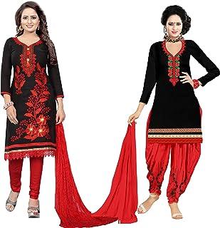 Samarth Enterprise Women's Straight Black Dress Material (Pack of 2) (Unstitched)