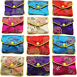 MorTime Jewellery Jewelry Silk Purse Pouch Gift Bags, Multiple Colors, Pack of 12, 4×3.15in, Medium