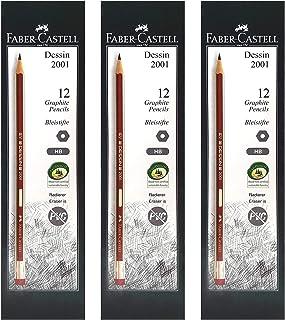 FABER-CASTELL DESSIN GRAPHITE PENCIL HB WITH ERASER TIP 12PCX3BOX