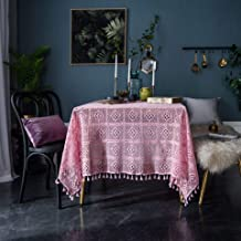 Pink handmade crochet round tablecloth knitted hollow art coffee table cloth shooting background cloth 140 * 220cm