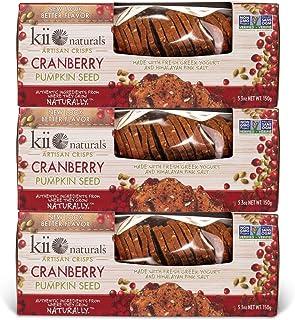 Kii Naturals Artisan Crisps- Cranberry Pumpkin Seed, 5.3 oz (3 Pack)