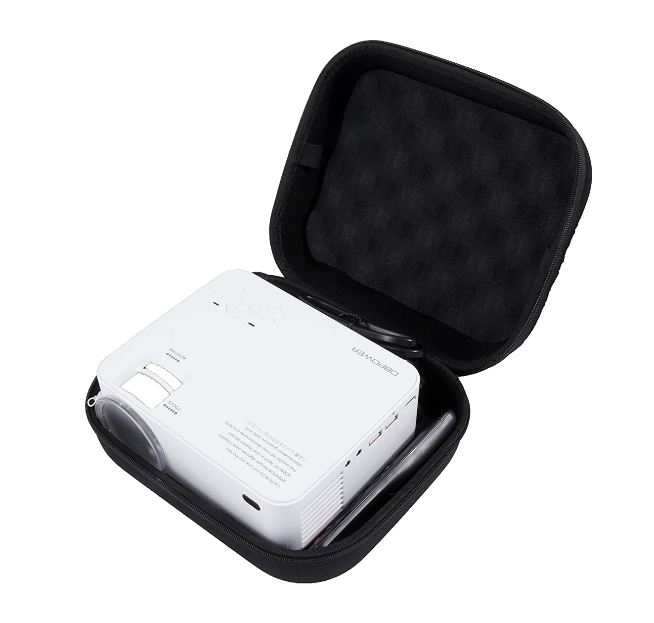 CASEMATIX Impact Protection Projector Case For DR.J Mini Projector and dbpower?T20 1500 Lumens LCD Mini Projector and Accessories