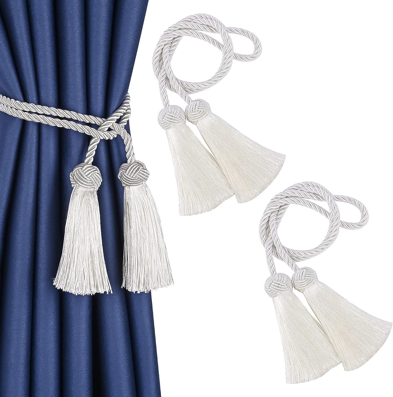 UNIAISENG 2PCS Phoenix Mall Hand-Woven Curtain Ranking integrated 1st place Ta Tiebacks Tie-Backs