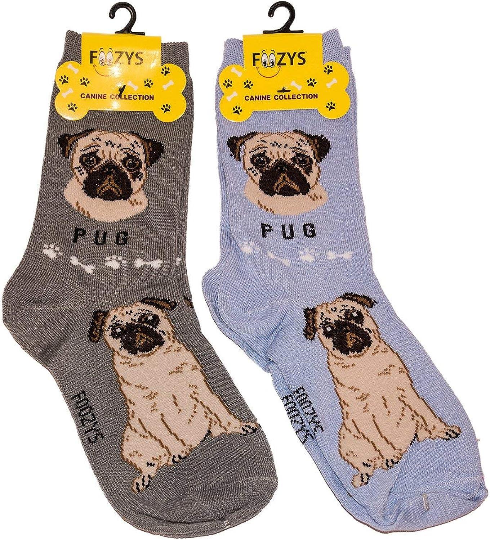 Foozys Unisex Crew Socks   Canine Small Dog Breed Novelty Socks (2 Pair)