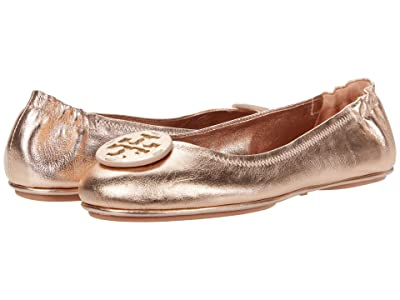 Tory Burch Minnie Travel Ballet w/ Leather Logo (Rose Gold/Rose Gold) Women