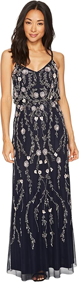 Adrianna Papell - Petite Floral Beaded Blouson Gown
