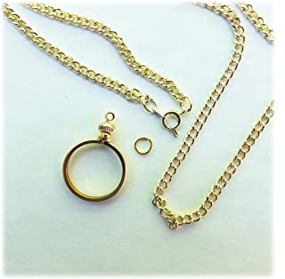 Coin Holder Bezel Dime USA 10 Cent Gold Plated Link Necklace 20