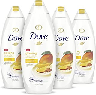 Dove Glowing Body Wash Moisturizes for Radiant Skin Mango Butter and Almond Butter Moisturizing and Sulfate-Free 22 oz, 4 ...