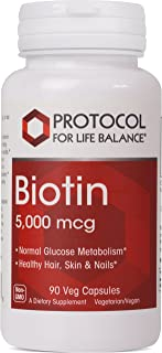 Protocol For Life Balance - Biotin 5,000 mcg - Supports Amino Acid Metabolism and Supports Healthy Immune System, Supports...