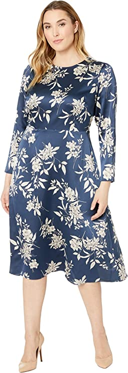 Plus Size Long Sleeve Refined Etched Bouquet Dress
