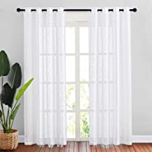 NICETOWN White Sheer Linen Curtains for Windows 84 inch Length, Grommet Top Semi Sheer Vertical Drapes Privacy with Light Filter for Bedroom/Living Room/Sliding Door, 52 inch Wide, 2 PCs