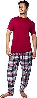 ThreadMills Mens Pyjamas Set, Checked Pyjamas for Men, Cotton Short Sleeves Round Neck T-Shirts Woven Mens Pyjamas