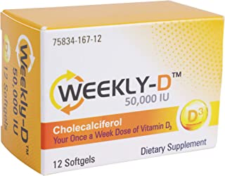 Sponsored Ad - Weekly-D Vitamin D3 50,000 IU | for Energy, Bone and Teeth Health, Immune System Support | 12 Vitamin D3 So...