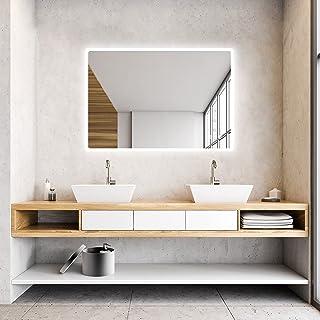 IDÉOVIE® Premier Prix Miroir Salle de Bain LED 80x60cm, Miroir Salle de Bain avec Éclairage Intégré, Interrupteur Tactile...