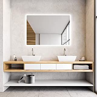 IDÉOVIE® Premier Prix Miroir Salle de Bain LED 80x60cm, Miroir Salle de Bain avec Éclairage Intégré, Interrupteur Tactile ...