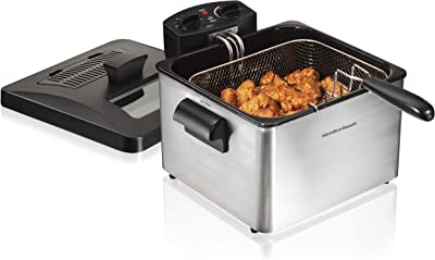 Hamilton Beach Triple Basket Electric Deep Fryer, 19 Cups / 4.5 Liters Oil Capacity, Lid with View Window, Professional Grade, 1800 Watts, Stainless Steel (35034) , Black