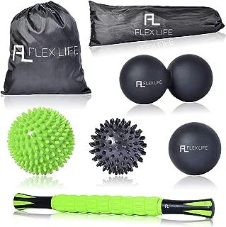 Flex Life Massage Ball Set & Muscle Roller Stick Massager - 2 Spiky Ball, 1 Lacrosse Ball, 1 Peanut Ball, (1) 18