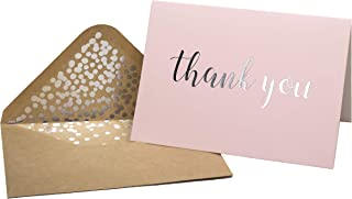 Thank You Cards - Blank 50 Pack Pink Matte Finish Cards with Silver Foiled
