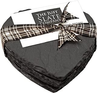 The Just Slate Company Heart-Shaped Natural Slate Coaster, 4.29 x 4.29-Inch, Set of 4