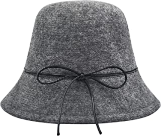 ZLYC Womens Winter Wool Knit Bucket Hats Warm Solid Fedora