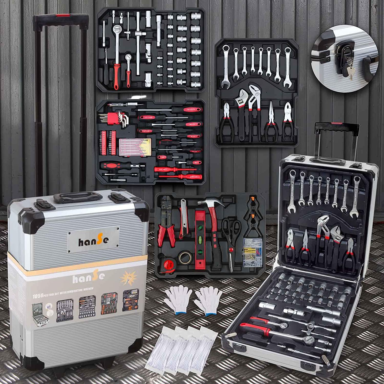 hanSe® Maxi Tool Box, 20 Piece Tool Trolley, Filled Tool Box ...