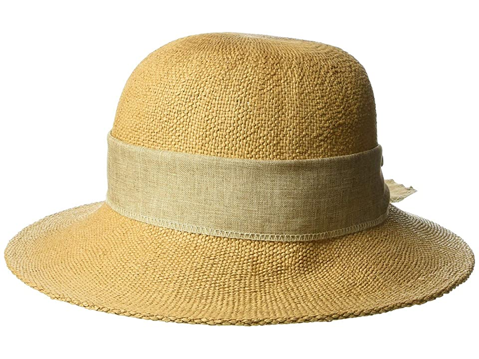 San Diego Hat Company PBM3020 - Concentric Brim Cloche with Linen Bow Trim (Tobacco) Caps, Brown