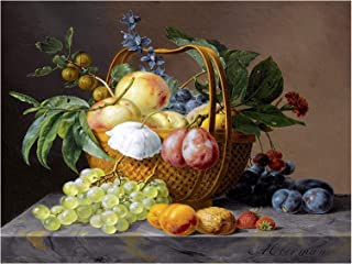 Still Life with Fruit and Flowers in A Basket by Anthony Oberman Plum Gooseberry Accent Tile Mural Kitchen Bathroom Wall Backsplash Behind Stove Range Sink Splashback One Tile 8