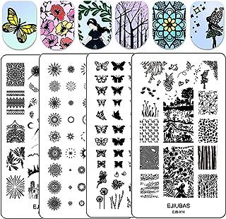 Ejiubas Nail Stamping Plates Double Side Nail Art Stamping Kits DIY Layering Plates Nail Stamper Templates 2pcs Nail Art Design EJB-X14 X15