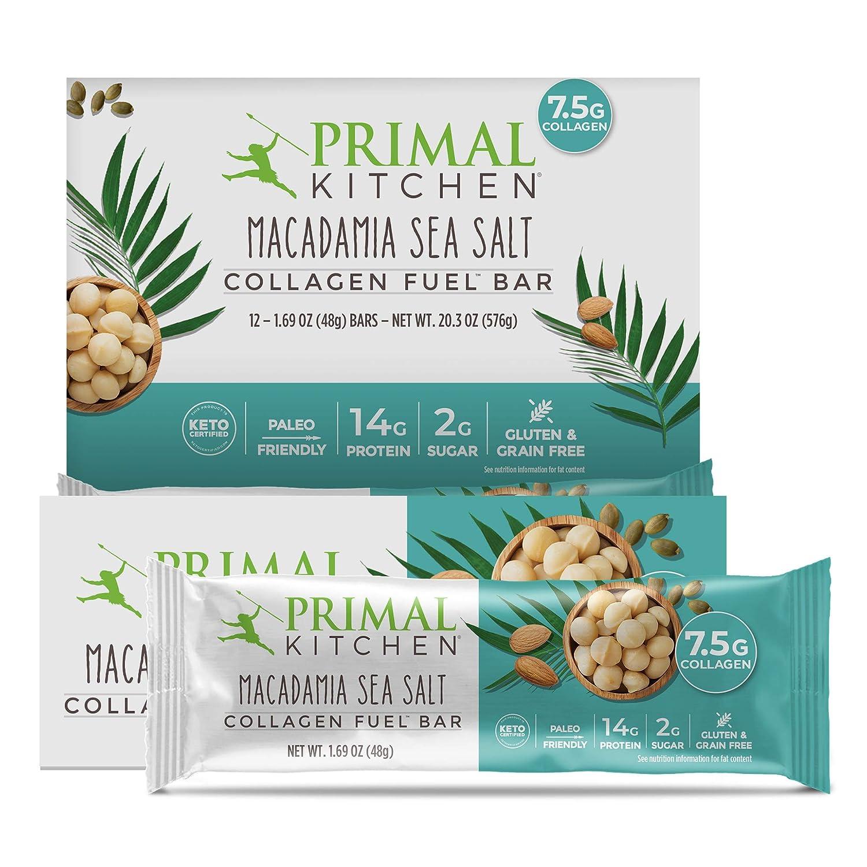 Primal Kitchen Macadamia Sea Salt Collagen Protein Bars 1 7 Oz Pack Of 12 Gluten Free Paleo Contains Eggs Amazon Com Grocery Gourmet Food
