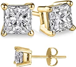 Unique 925 Sterling Silver Gold Overlay 1.00 Carat /& 2.00 Carat Combo Cubic Zirconia Princess Stud Earrings