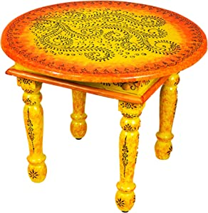 Moroccan Living Room Table Wooden Coffee Table Chajra 60 cm Vintage Wooden Table Decorated with Painted for Your Living Room Low Oriental Sofa Wooden Table Colourful