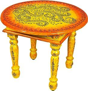 Marokkanischer Wohnzimmertisch Couchtisch aus Holz Chajra 60cm | Vintage Tisch aus Holz mit Bemalung verziert für Ihre Wohnzimmer | Niedriger Orientalischer Sofatisch Holztisch Bunt