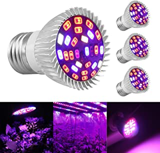 Led Grow Light Bulb 4Pcs E27 Grow Light Lamp Full Spectrum 28W LED Plant Light Lamp for Indoor Plants Vegetables and Seedlings Garden Greenhouse and Hydroponic Plants Organic