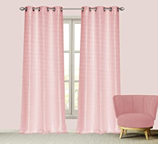 Dainty Home Cotton Blend Grommet Panel Pair, 76 x 84'', Blush - BS7684BLU