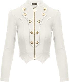 HyBrid   Company Women s Military Crop Stretch Gold Zip Up Blazer Jacket 4719ba6f3