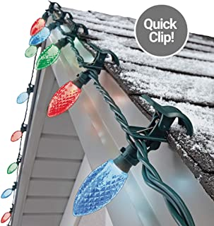 NOMA C9 LED Quick Clip Christmas Lights | Simple Built-in Clip-On Outdoor String Lights | Red, Green, Blue Bulbs | UL Certified | 24 Light Set | 16.8 Foot Strand