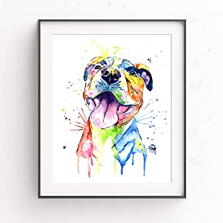 Pitbull Wall Art by Whitehouse Art | Pitbull Painting, Dog Wall Art, Dog Picture | Professional Print of Smiling Pitbull Original Watercolor | American Pitbull Gifts | 6 Sizes