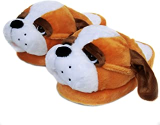 Onmygogo Fuzzy Animal Plush Slippers for Women, Winter Indoor Home Scuff Slippers for Women